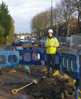 Perry Walton of Anglia Water, at work on the Pytchley Road