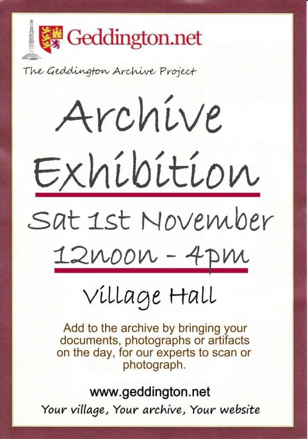 Archive exhibition poster for village