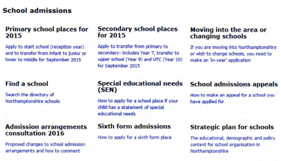 2015 School admissions entry page