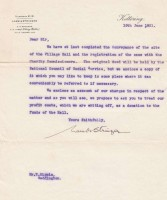 1931 Letter to the Charity Commission