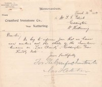Letter about ironstone 1914