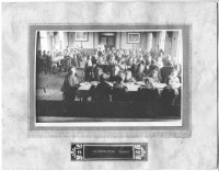 1948 School dinner in the Hall, note the floor covering.